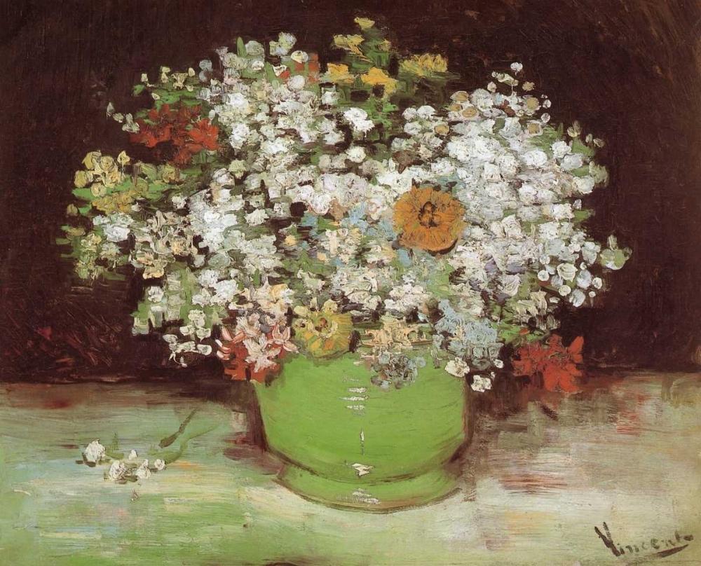 konfigurieren des Kunstdrucks in Wunschgröße Vase Zinnias And Other Flowers von Van Gogh, Vincent