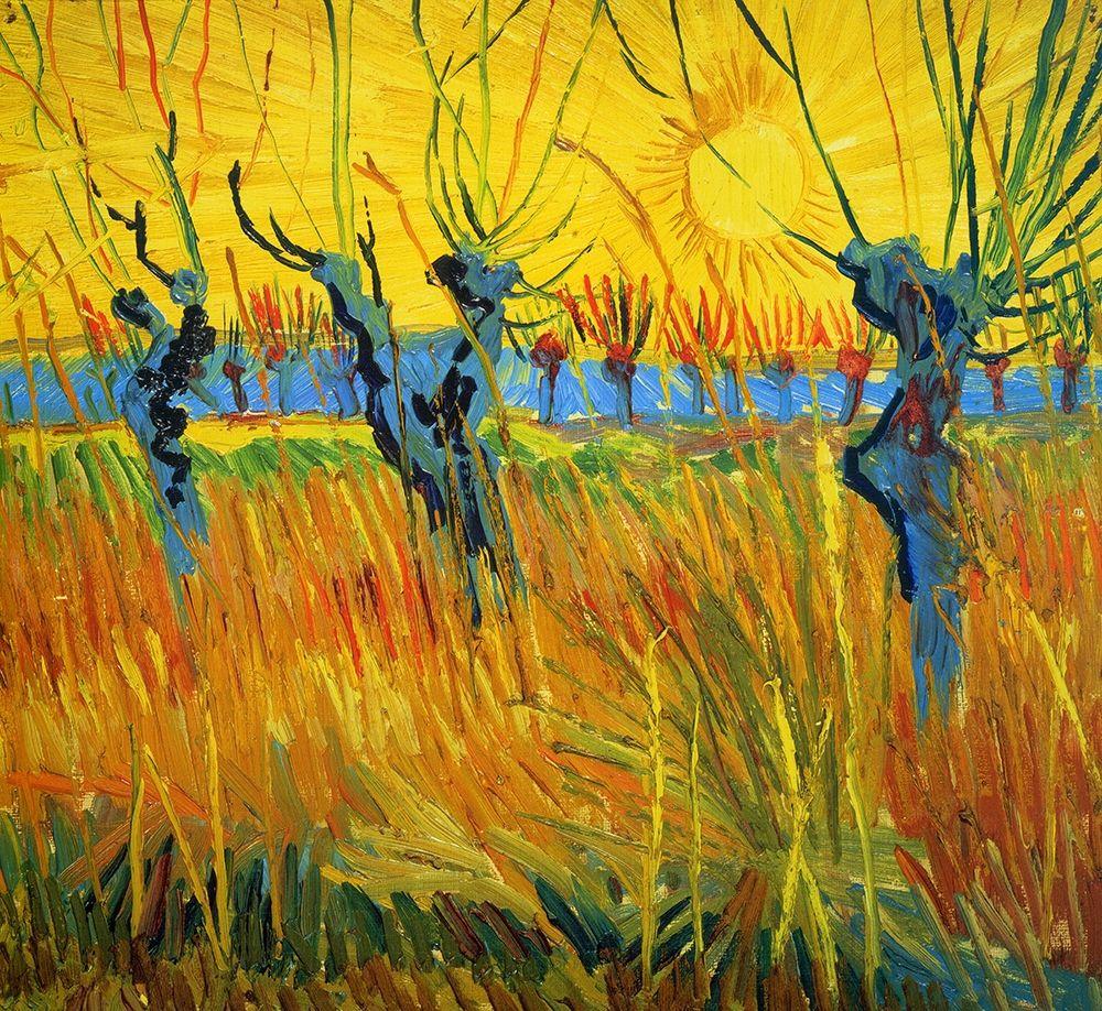 konfigurieren des Kunstdrucks in Wunschgröße Willows At Sunset von Van Gogh, Vincent