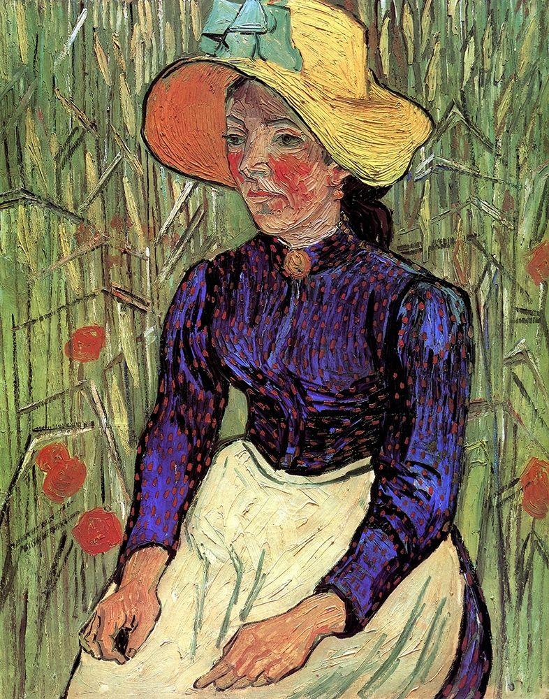 konfigurieren des Kunstdrucks in Wunschgröße Young Peasant Woman Straw Hat von Van Gogh, Vincent