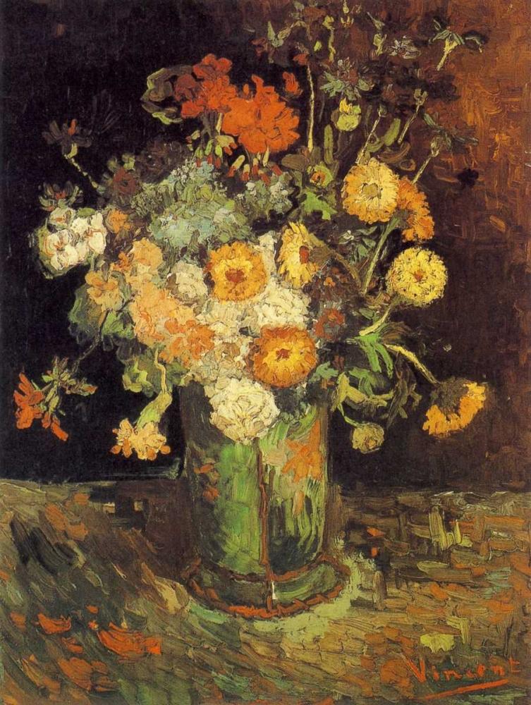 konfigurieren des Kunstdrucks in Wunschgröße Zinnias Geraniums von Van Gogh, Vincent
