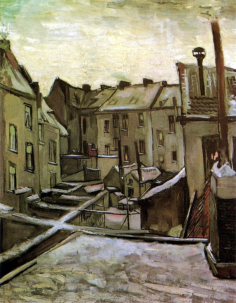 konfigurieren des Kunstdrucks in Wunschgröße Backyards Old Houses Antwerp Snow von Van Gogh, Vincent