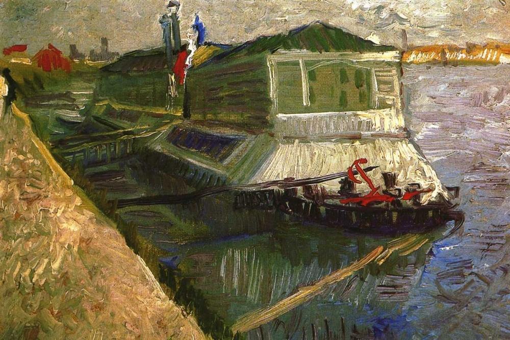 konfigurieren des Kunstdrucks in Wunschgröße Bathing Float On Seine von Van Gogh, Vincent