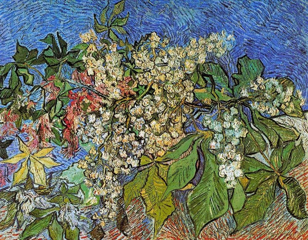 konfigurieren des Kunstdrucks in Wunschgröße Blossoming Chestnut Branches von Van Gogh, Vincent