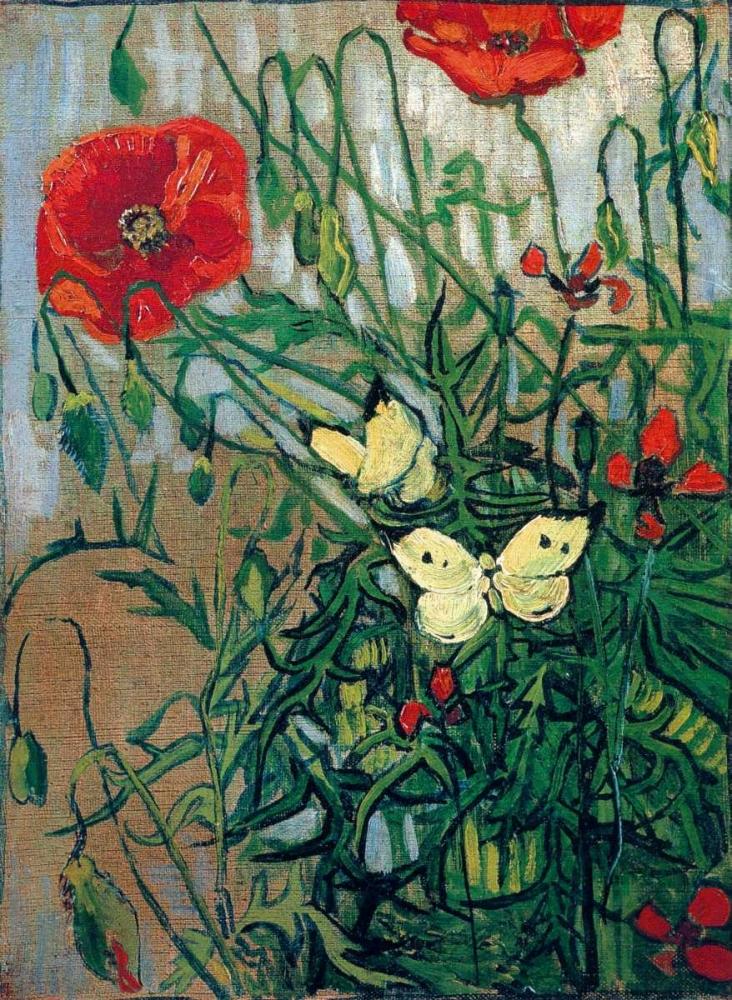 konfigurieren des Kunstdrucks in Wunschgröße Butterflies And Poppies von Van Gogh, Vincent