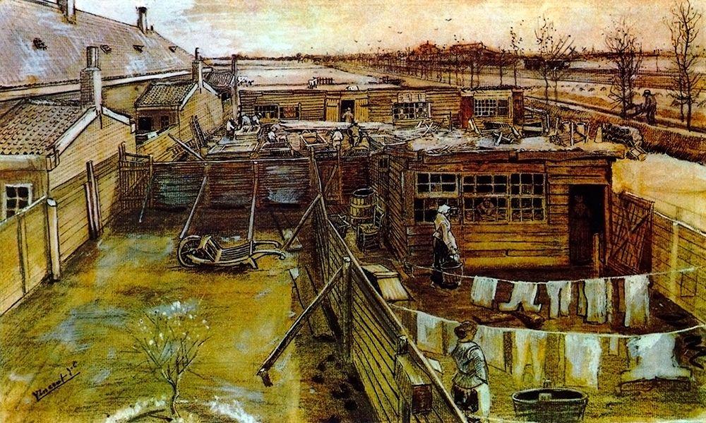 konfigurieren des Kunstdrucks in Wunschgröße Carpenter Workshop Seen From The Artists Studio von Van Gogh, Vincent