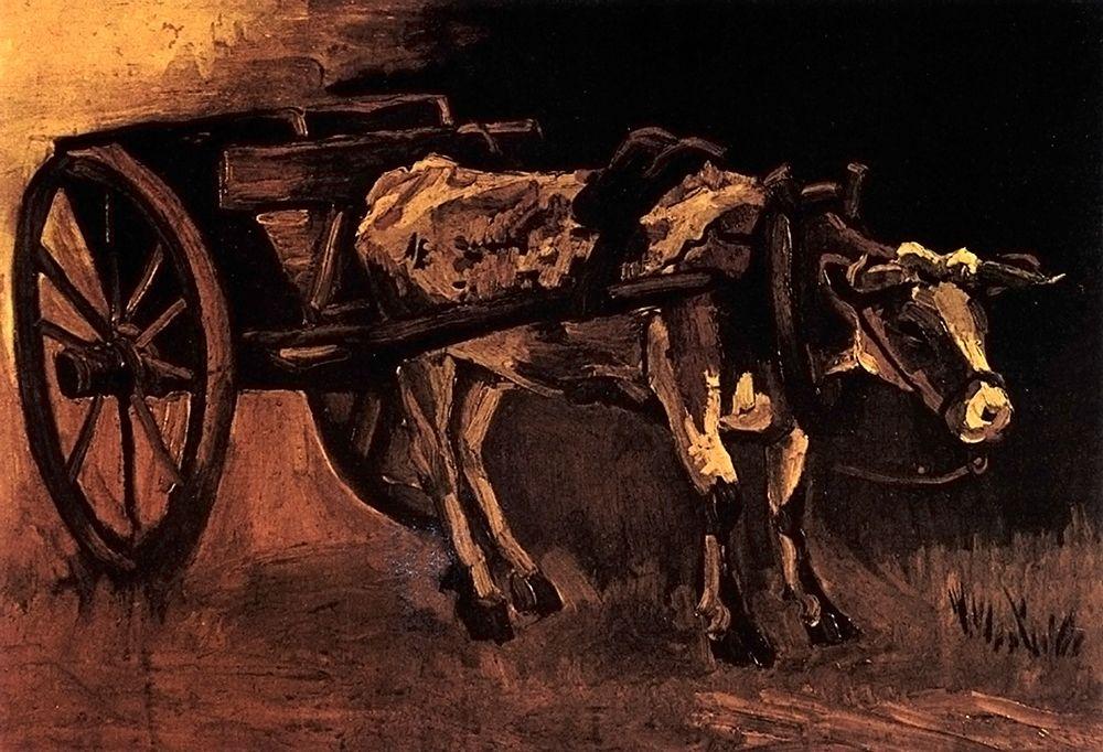 konfigurieren des Kunstdrucks in Wunschgröße Cart Red White Ox von Van Gogh, Vincent