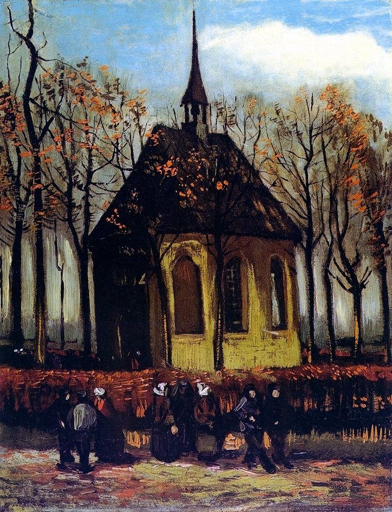 konfigurieren des Kunstdrucks in Wunschgröße Chapel At Nuenen With Churchgoers von Van Gogh, Vincent