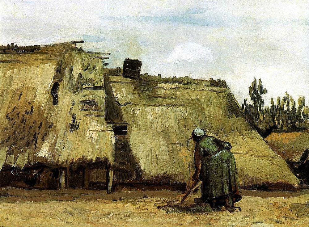 konfigurieren des Kunstdrucks in Wunschgröße Cottage With Woman Digging von Van Gogh, Vincent