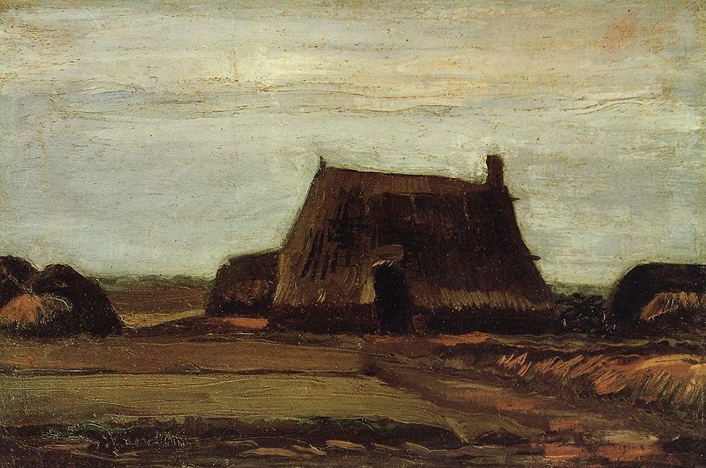 konfigurieren des Kunstdrucks in Wunschgröße Farm House With Peat Stacks von Van Gogh, Vincent