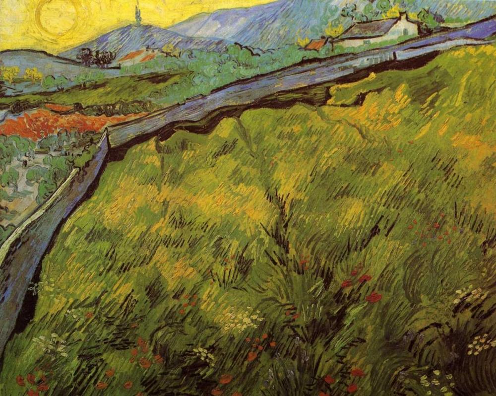 konfigurieren des Kunstdrucks in Wunschgröße Field Of Spring Wheat At Sunrise von Van Gogh, Vincent