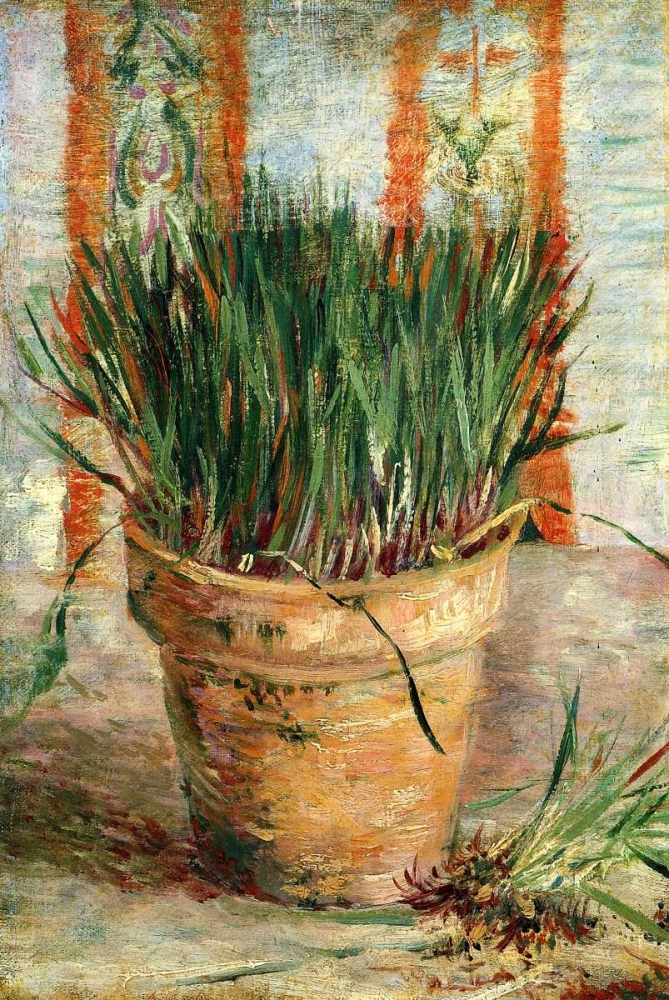 konfigurieren des Kunstdrucks in Wunschgröße Flowerpot With Chives von Van Gogh, Vincent