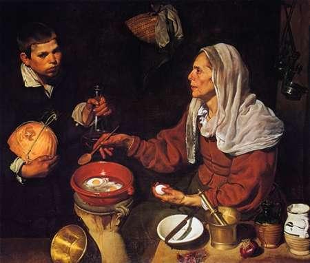 konfigurieren des Kunstdrucks in Wunschgröße Old Woman Cooking Eggs von Velazquez, Diego