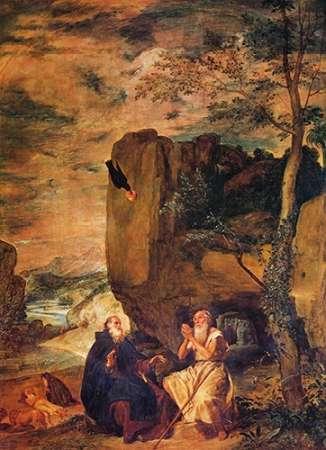 konfigurieren des Kunstdrucks in Wunschgröße Saint Anthony Abbot And Saint Paul The Hermit von Velazquez, Diego