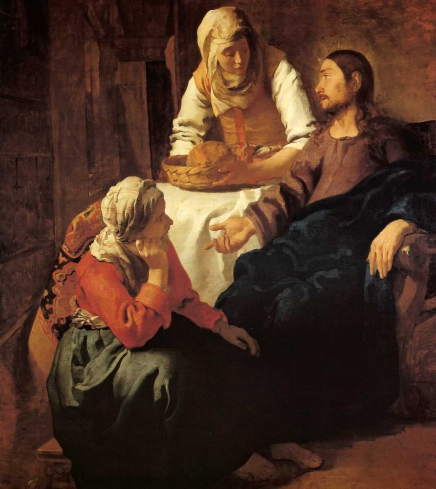 konfigurieren des Kunstdrucks in Wunschgröße Christ In The House Of Mary And Martha von Vermeer, Johannes