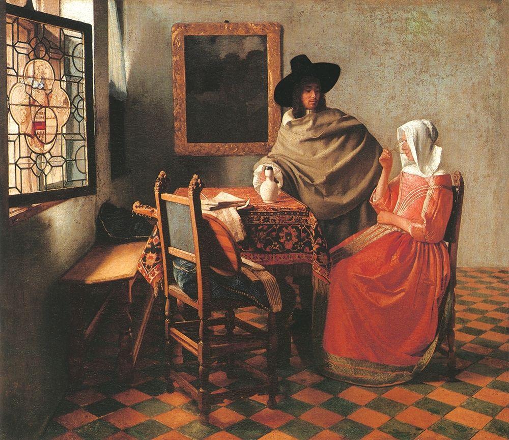 konfigurieren des Kunstdrucks in Wunschgröße Gentleman And Woman Drinking von Vermeer, Johannes