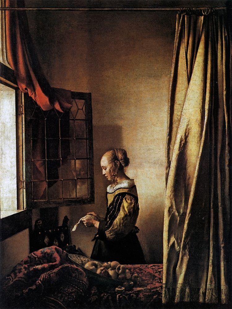 konfigurieren des Kunstdrucks in Wunschgröße Girl Reading A Letter At An Open Window von Vermeer, Johannes