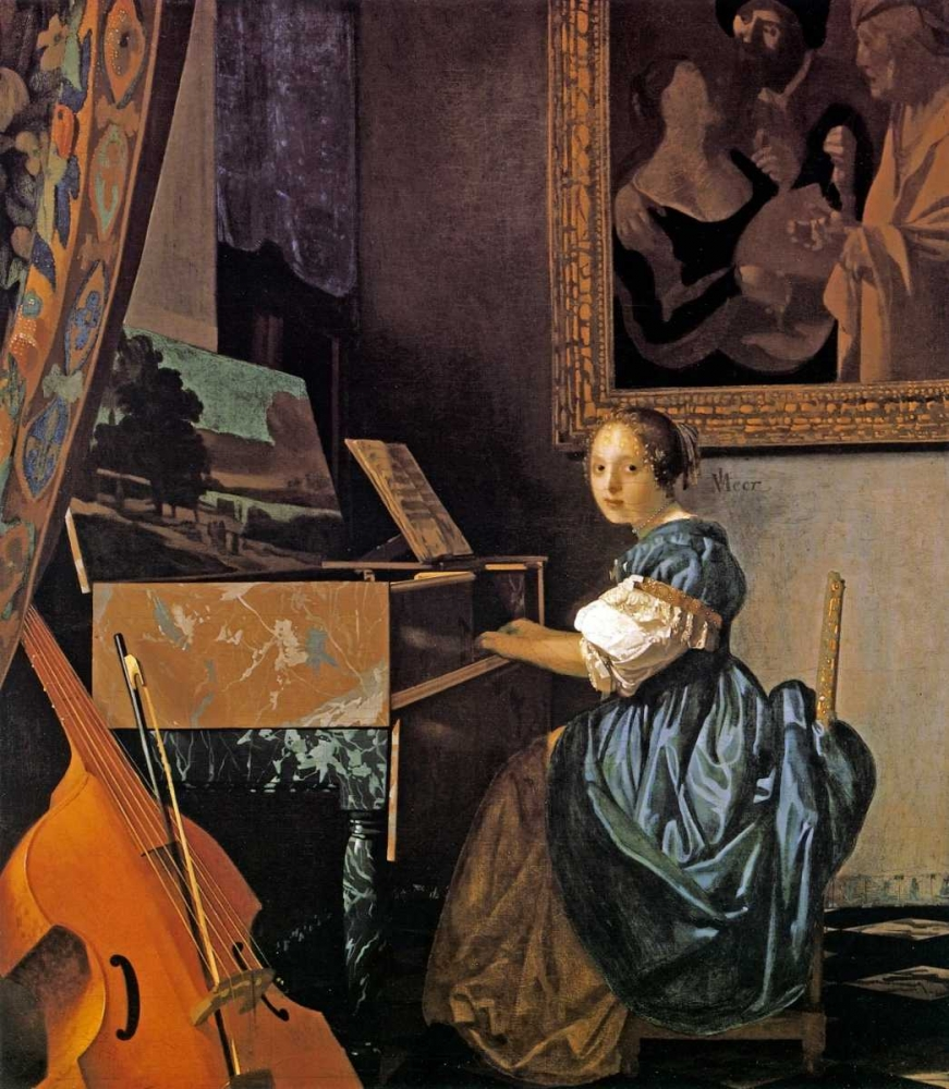 Lady Seated At A Virginal von Vermeer, Johannes <br> max. 46 x 53cm <br> Preis: ab 10€