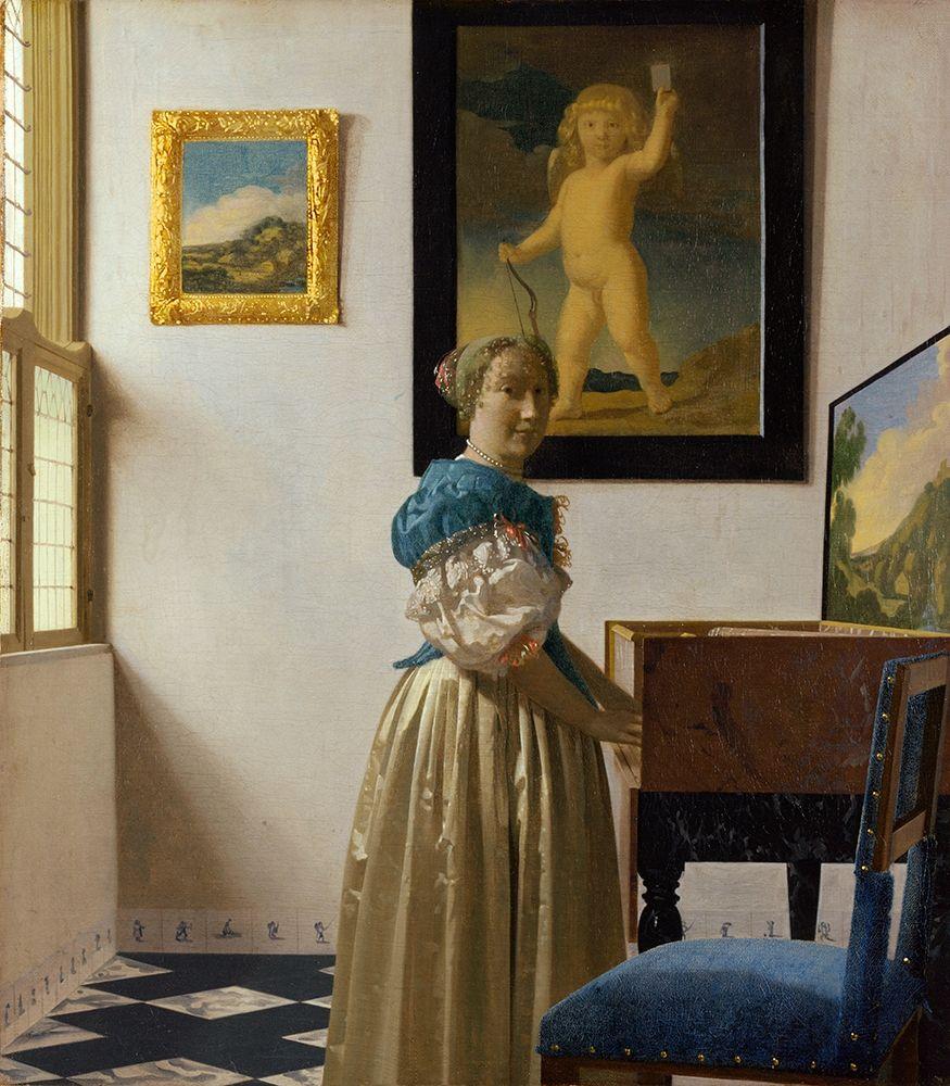 konfigurieren des Kunstdrucks in Wunschgröße Lady Standing At A Virginal von Vermeer, Johannes