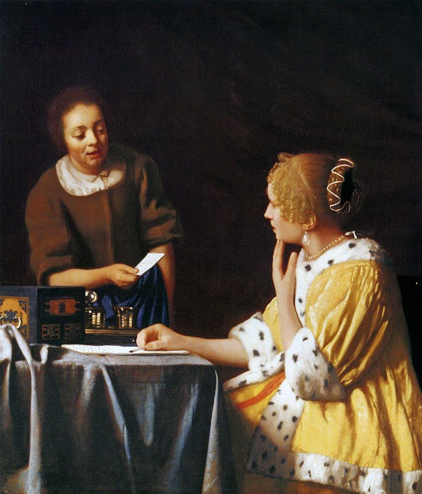 konfigurieren des Kunstdrucks in Wunschgröße Lady With A Maidservant Holding A Letter von Vermeer, Johannes