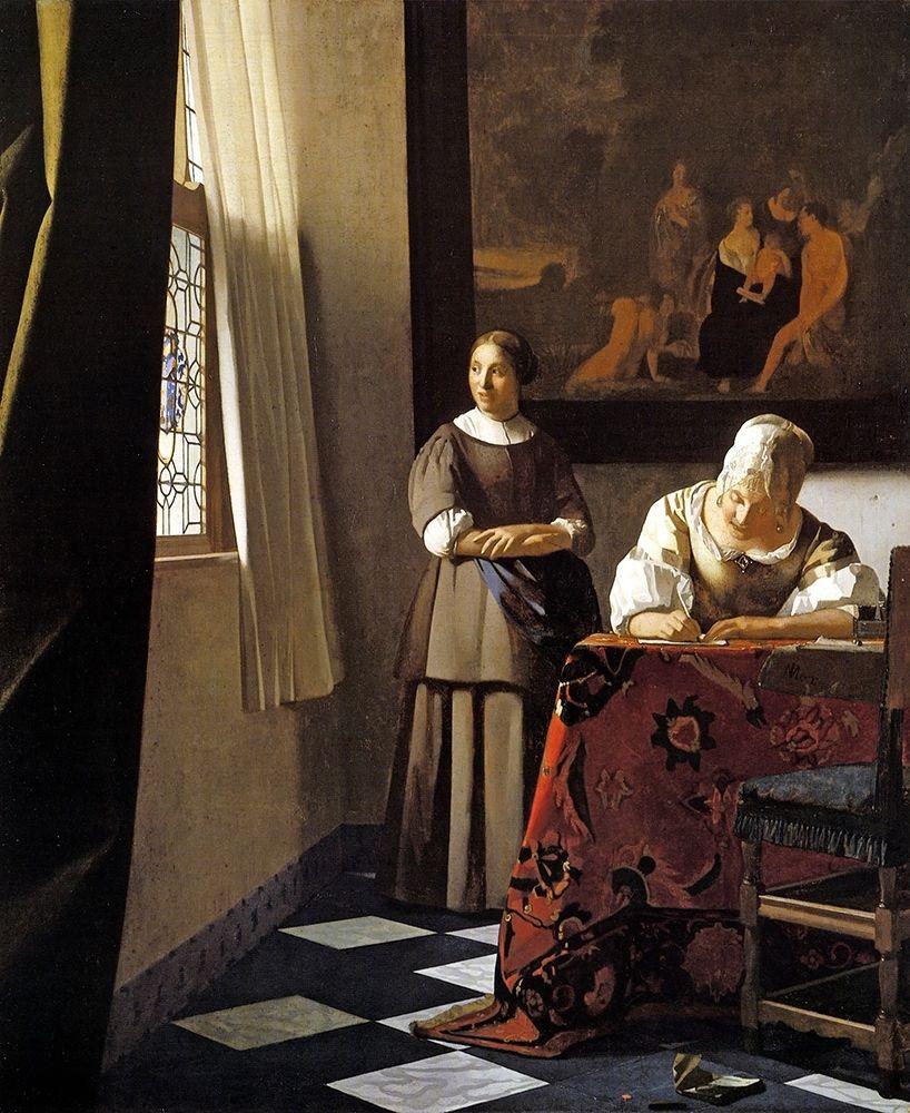 konfigurieren des Kunstdrucks in Wunschgröße Lady Writing A Letter With Her Maid von Vermeer, Johannes