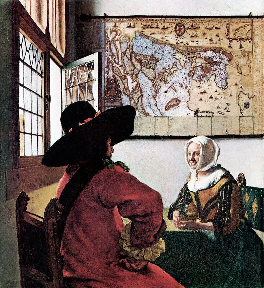 konfigurieren des Kunstdrucks in Wunschgröße Soldier And Young Girl Smiling von Vermeer, Johannes