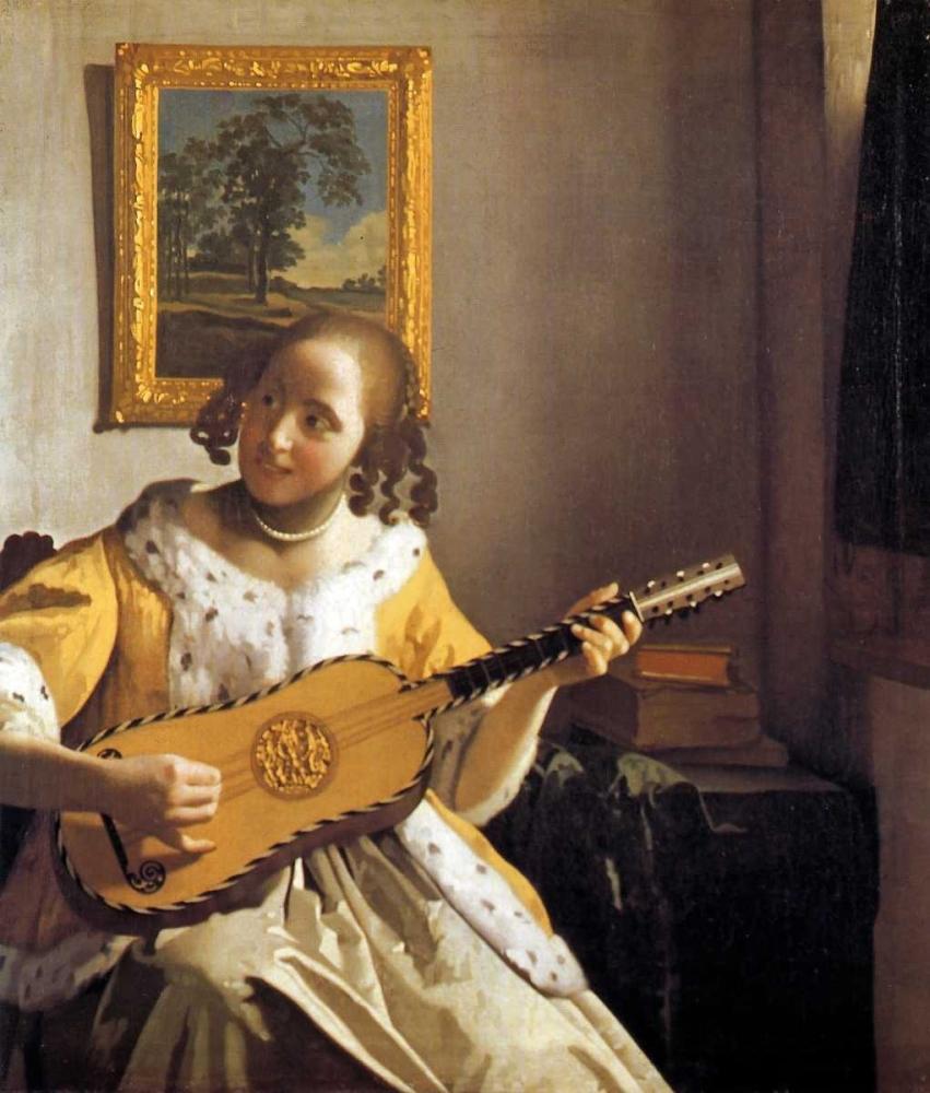 konfigurieren des Kunstdrucks in Wunschgröße The Guitar Player von Vermeer, Johannes