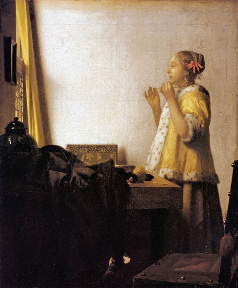 konfigurieren des Kunstdrucks in Wunschgröße Woman With A Pearl Necklace von Vermeer, Johannes