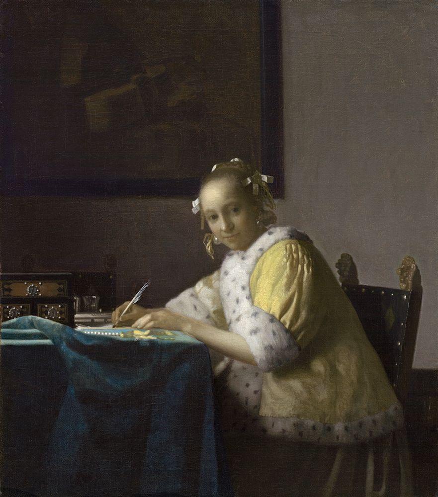 konfigurieren des Kunstdrucks in Wunschgröße Writing Lady In Yellow Jacket von Vermeer, Johannes