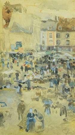konfigurieren des Kunstdrucks in Wunschgröße Variations In Violet And Grey Market Place Dieppe 1885 von Whistler, James McNeill