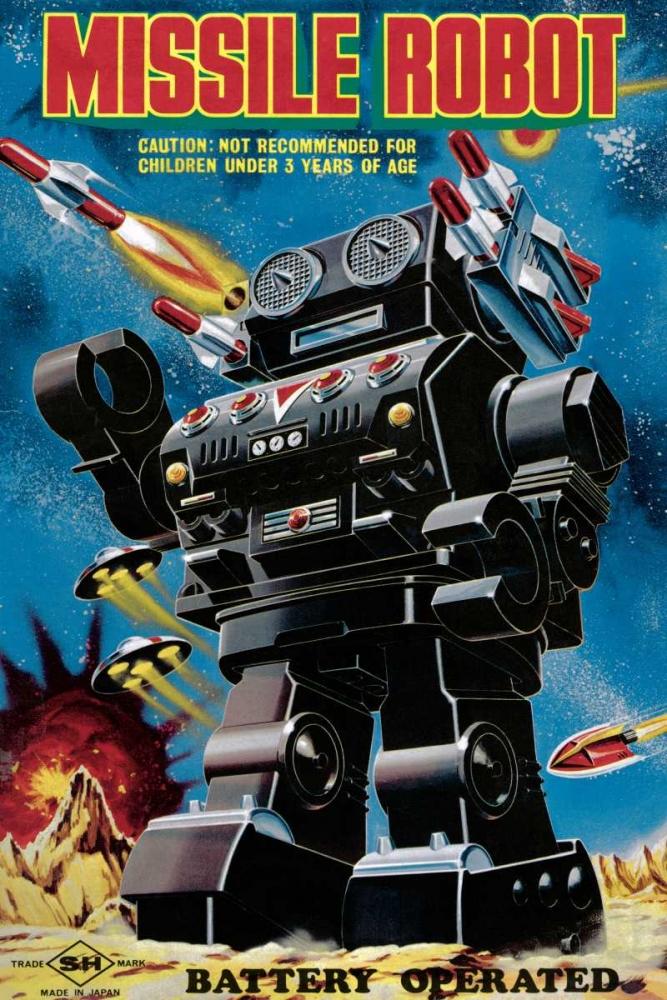 konfigurieren des Kunstdrucks in Wunschgröße Missile Robot von Retrobot