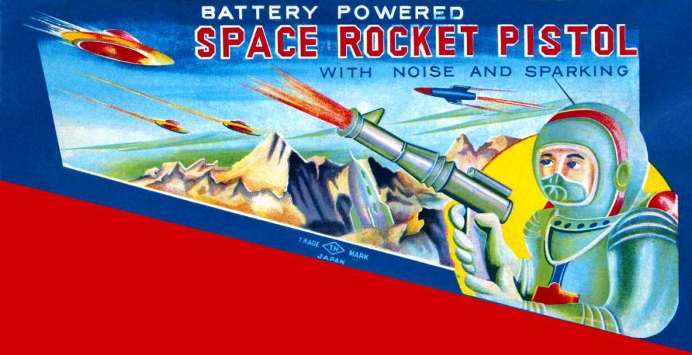 Space Rocket Pistol von Retrobot <br> max. 130 x 66cm <br> Preis: ab 10€