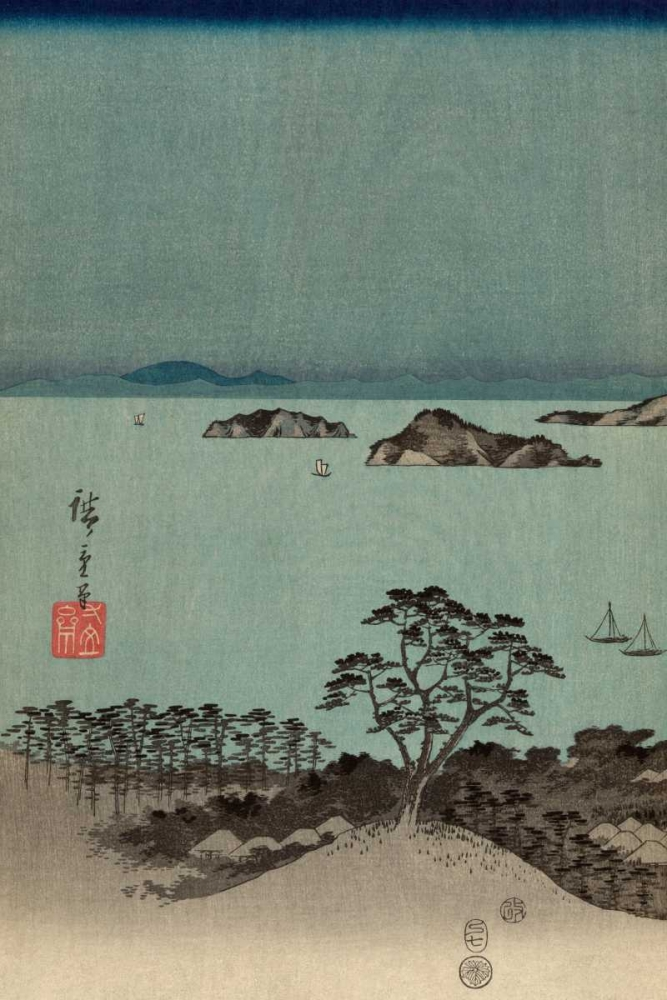 Evening view of the eight famous sites at Kanazawa in Musashi Province #1 von Hiroshige, Ando <br> max. 102 x 152cm <br> Preis: ab 10€