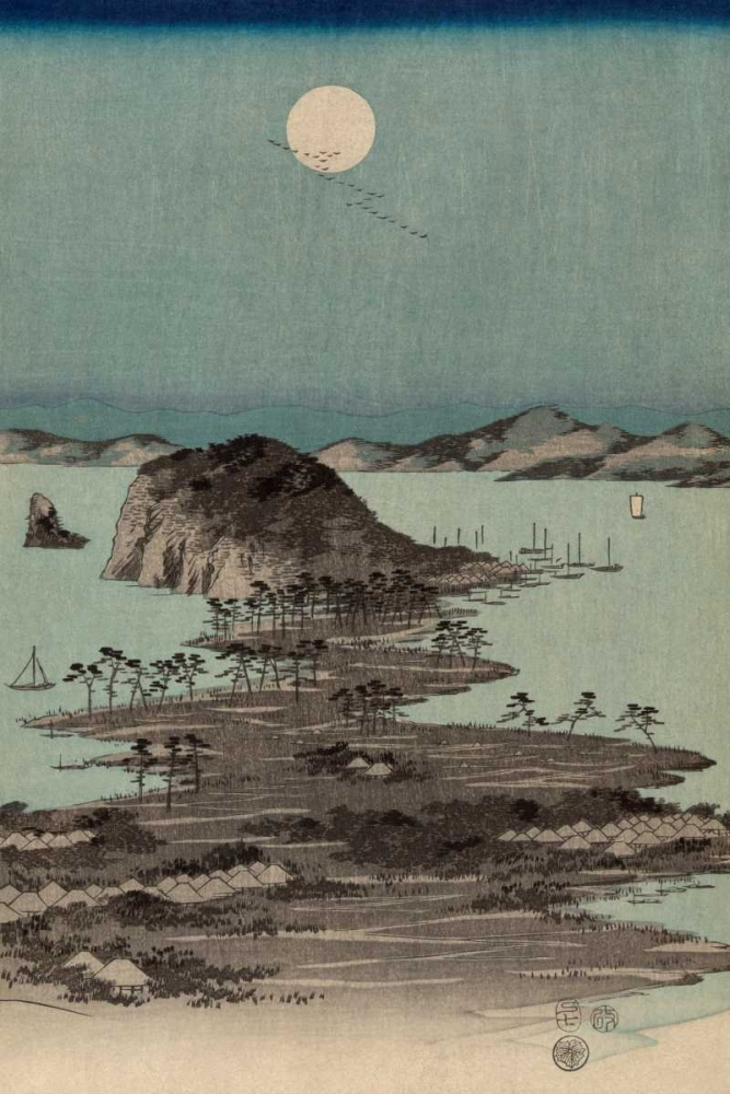 Evening view of the eight famous sites at Kanazawa in Musashi Province #2 von Hiroshige, Ando <br> max. 102 x 152cm <br> Preis: ab 10€