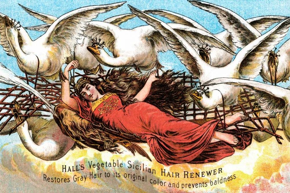 konfigurieren des Kunstdrucks in Wunschgröße Halls Vegetable Sicillian Hair Renewer von Advertisement