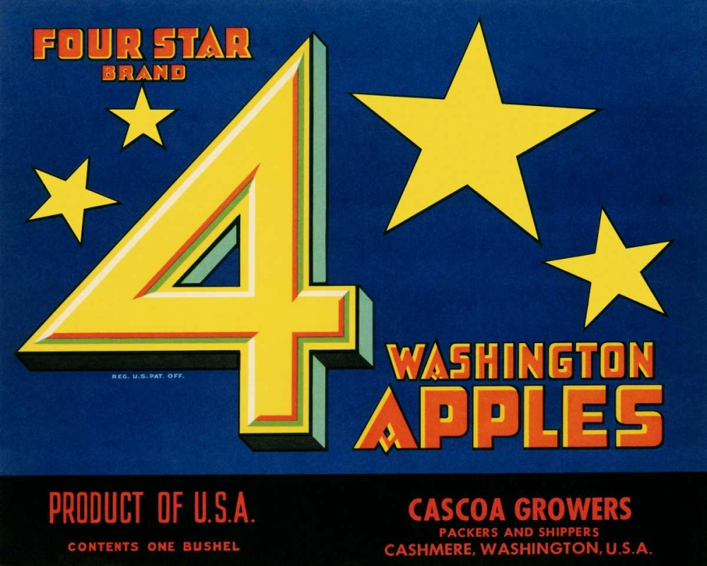 konfigurieren des Kunstdrucks in Wunschgröße Four Star Brand Washington Apples von Unknown