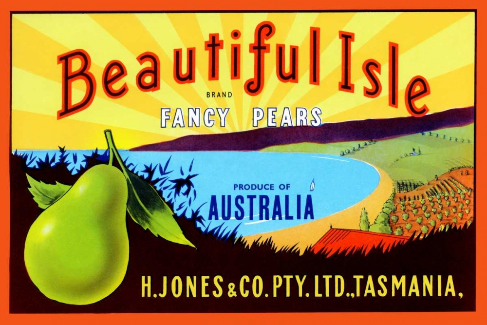 konfigurieren des Kunstdrucks in Wunschgröße Beautiful Isle Brand Fancy Pears von Unknown