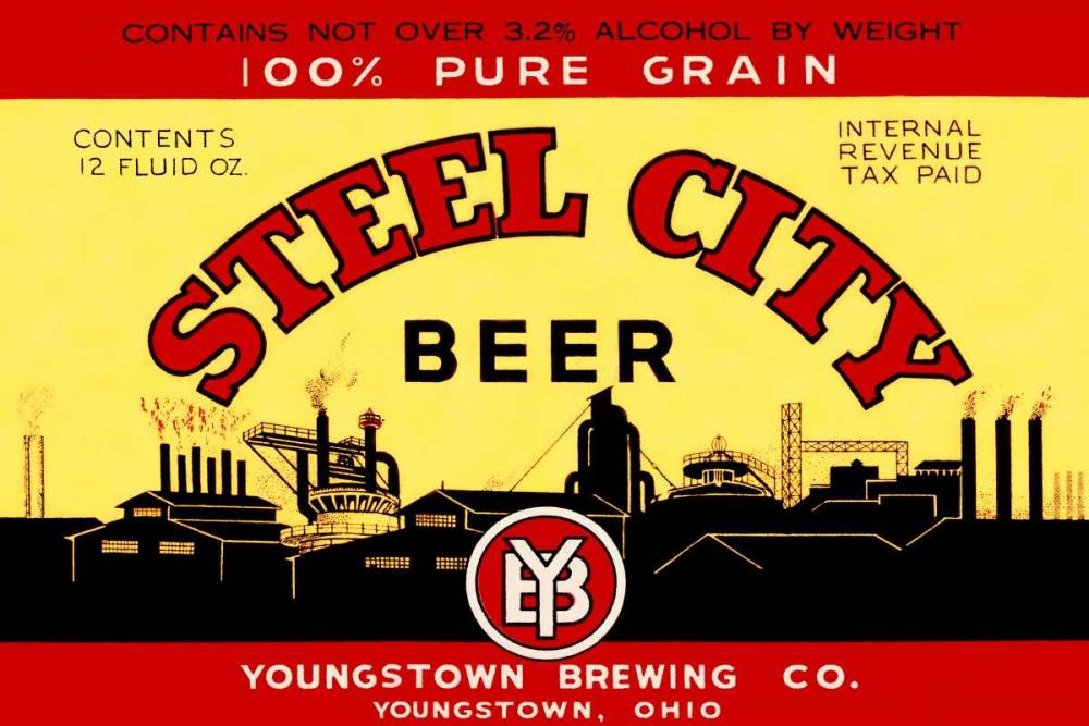 konfigurieren des Kunstdrucks in Wunschgröße Steel City Beer von Vintage Booze Labels