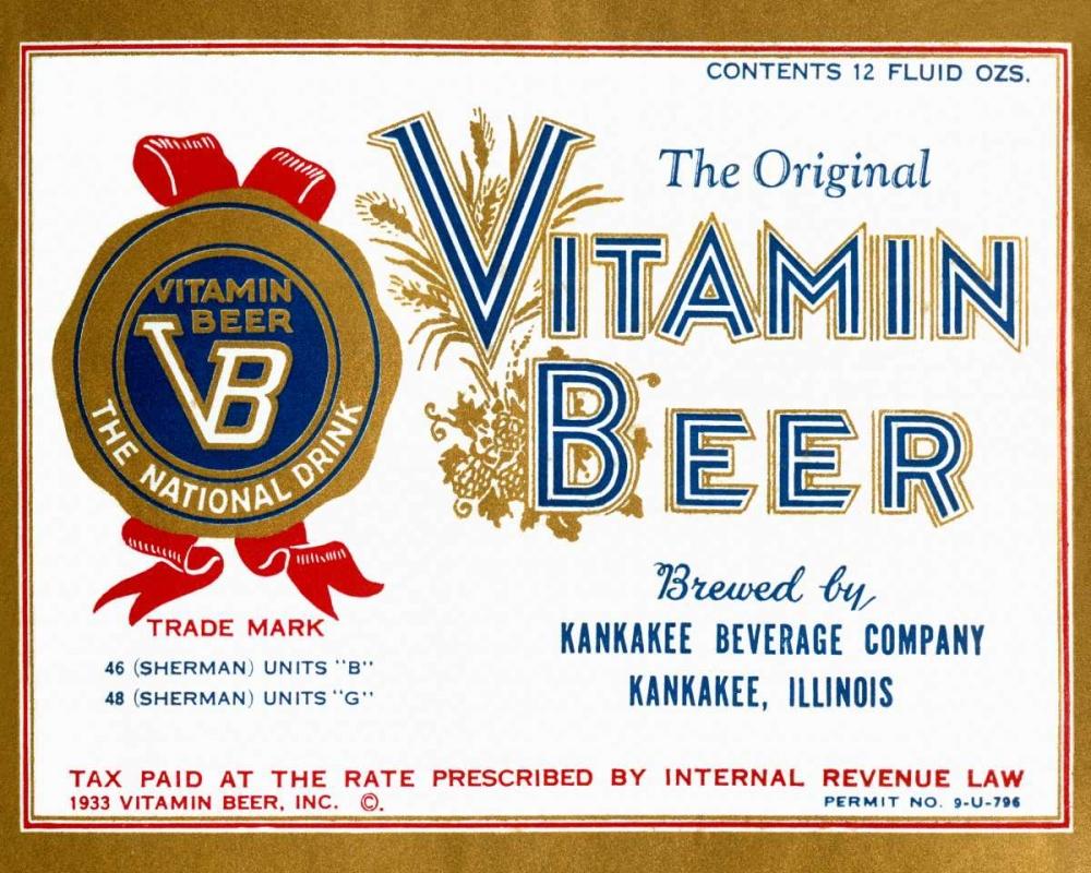 konfigurieren des Kunstdrucks in Wunschgröße Vitamin Beer von Vintage Booze Labels