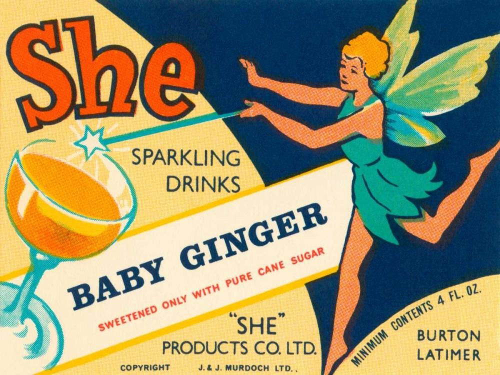 konfigurieren des Kunstdrucks in Wunschgröße Baby Ginger von Vintage Booze Labels