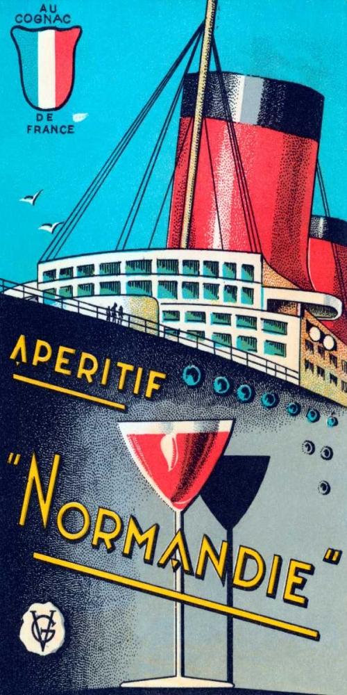 konfigurieren des Kunstdrucks in Wunschgröße Aperitif Normandie von Vintage Booze Labels