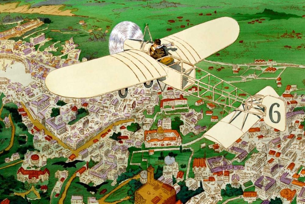 konfigurieren des Kunstdrucks in Wunschgröße Rome to Paris by air non-stop von Inventions