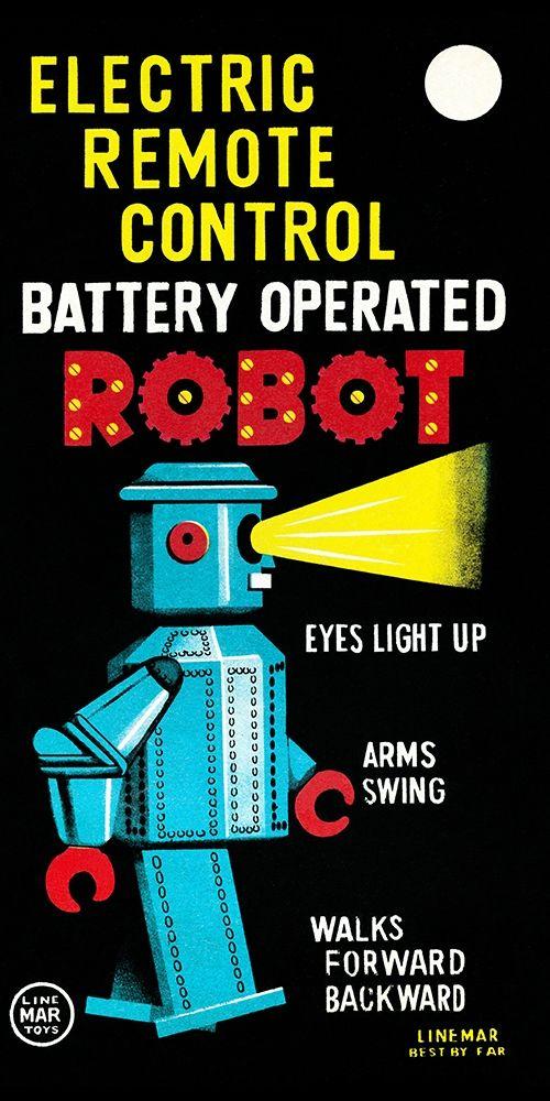 konfigurieren des Kunstdrucks in Wunschgröße Electric Remote Control Battery Operated Robot von Retrobot