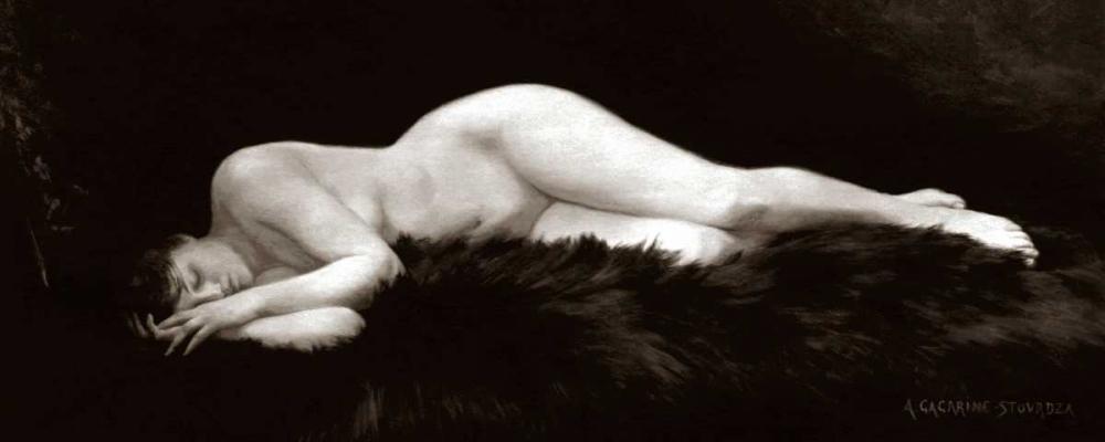 konfigurieren des Kunstdrucks in Wunschgröße Asleep on a Fur Rug von Vintage Nudes