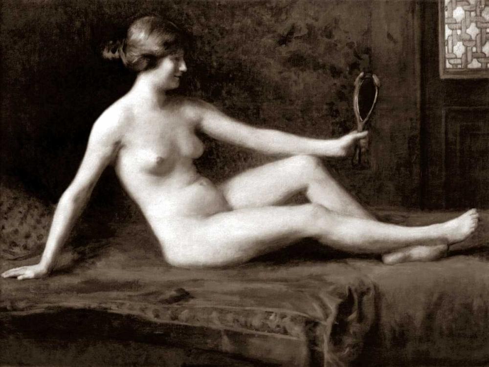 konfigurieren des Kunstdrucks in Wunschgröße Admiring Herself von Vintage Nudes