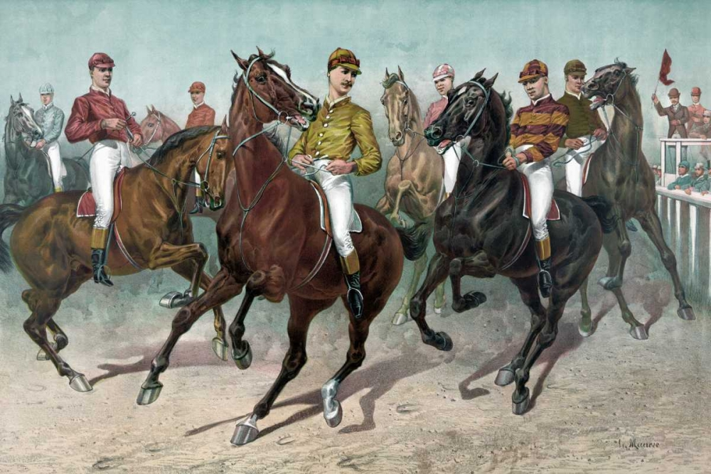 konfigurieren des Kunstdrucks in Wunschgröße Eager for the race von Currier and Ives