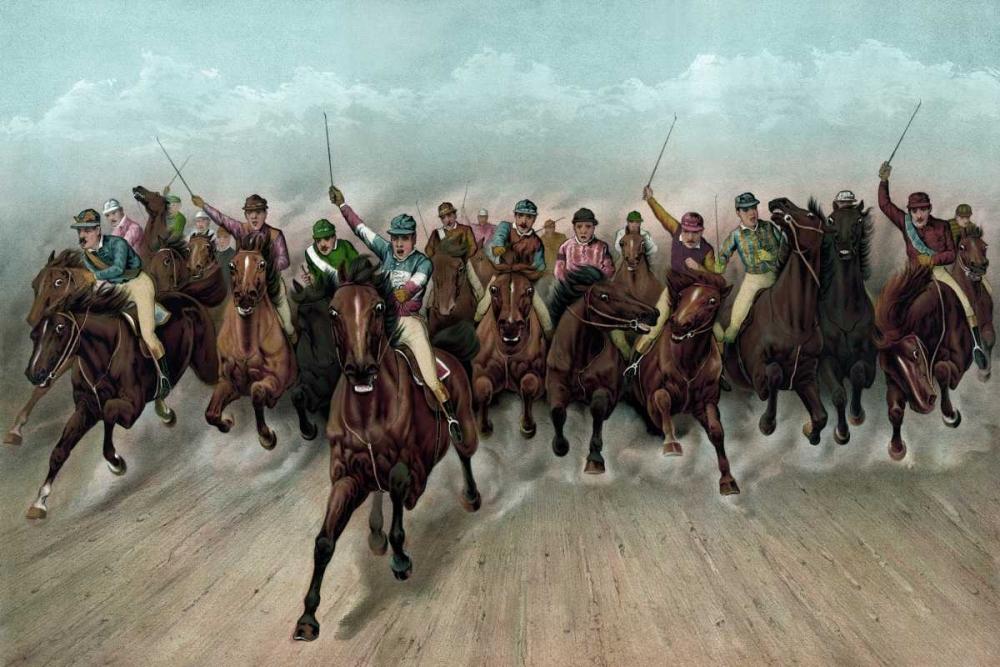 konfigurieren des Kunstdrucks in Wunschgröße A Great field in a grand rush von Currier and Ives