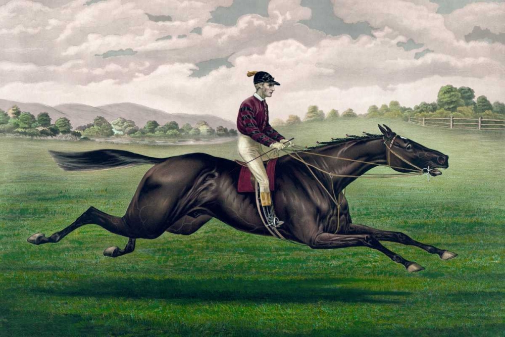 konfigurieren des Kunstdrucks in Wunschgröße Parole: brown gelding, by Imp. Leamington, dam Maiden by Lexington von Currier and Ives