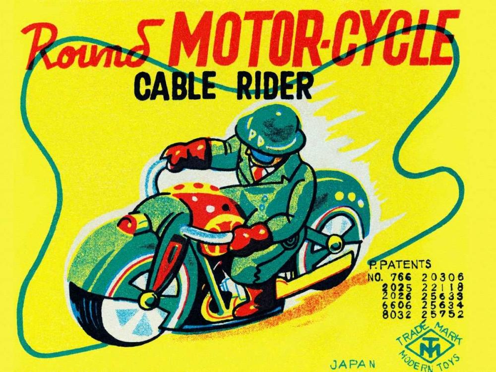 konfigurieren des Kunstdrucks in Wunschgröße Round Motor-cycle Cable Rider von Unknown