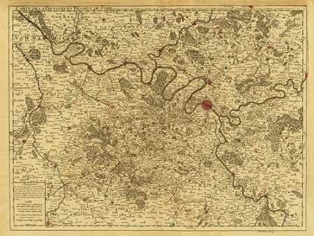 konfigurieren des Kunstdrucks in Wunschgröße Paris, France, 1711 - Tea Stained von De Lisle, Guillaume