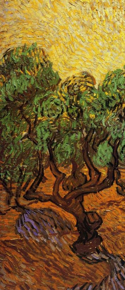 konfigurieren des Kunstdrucks in Wunschgröße Olive Trees With Yellow Sky And Sun - left von Van Gogh, Vincent